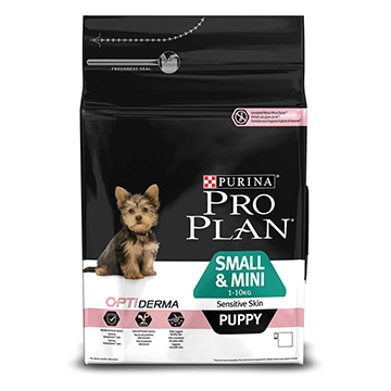 PURINA® PRO PLAN® Small & Mini Puppy Sensitive Skin με OPTIDERMA® Πλούσια σε Σολομό