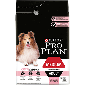 PURINA® PRO PLAN® Medium Adult Sensitive Skin με OPTIDERMA® Πλούσια σε Σολομό